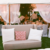 Pink and Gray Wedding Lounge Area