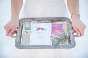 Pink and Green Winter Wedding Stationery