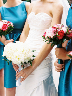 Pink and Red Bridesmaids Bouquets