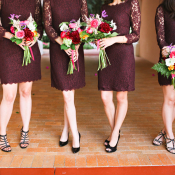 Purple Bridesmaids Dresses Black Shoes