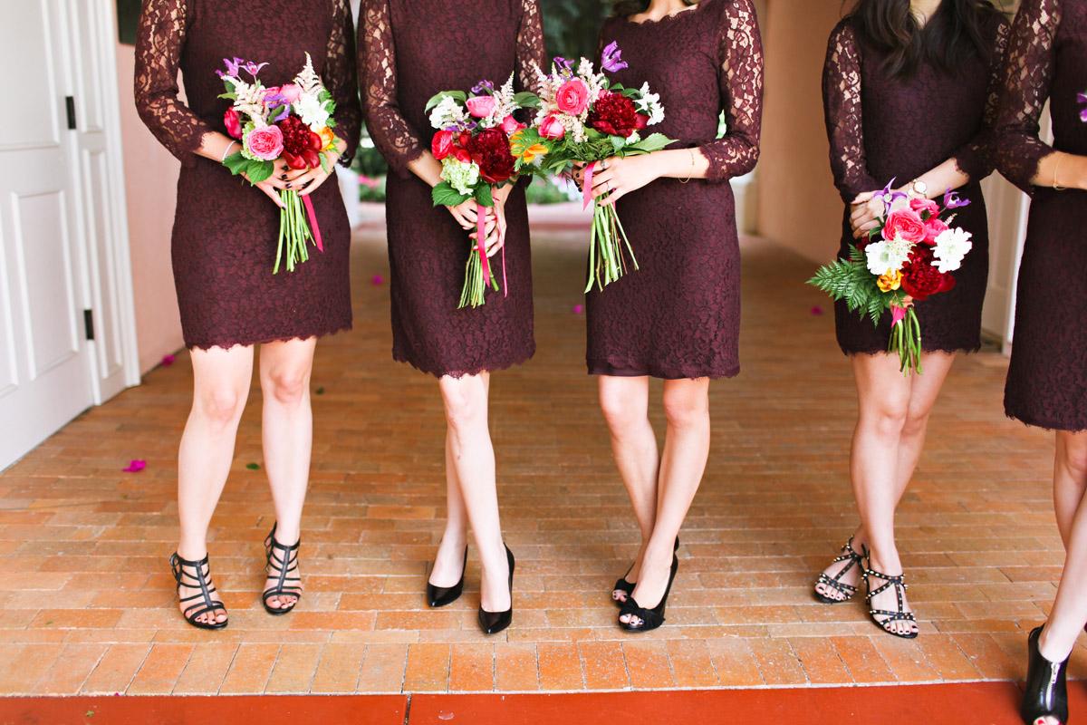Purple Bridesmaids Dresses Black Shoes Elizabeth Anne