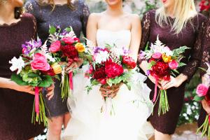 Purple Bridesmaids Pink Bouquets