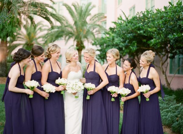 Purple Halter Style Bridesmaids