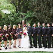Purple and Black Wedding Party