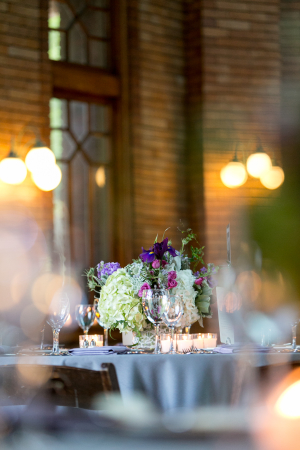 Purple and Green Wedding Table