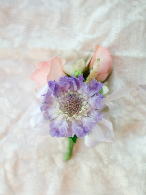 Purple and Pink Boutonniere