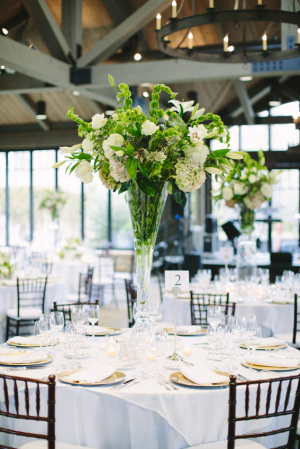 Reception Flowers in Fluted Vase