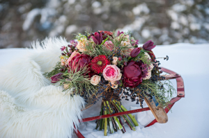 Red Floral and Pine Bouquet