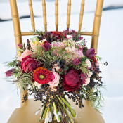 Red Ruby and Evergreen Bouquet