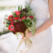 Red and Green Winter Bridal Bouquet