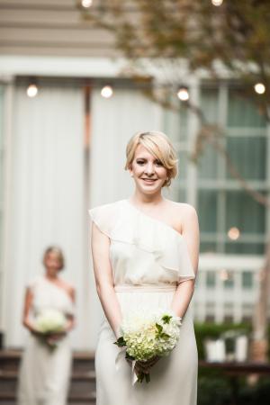 Ruffled One Shoulder Bridesmaids Dress