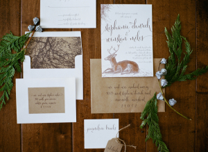 Rustic Brown Winter Wedding Invitations