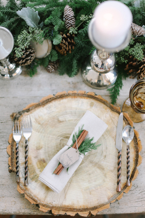 Rustic Winter Wedding Place Setting