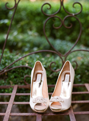 Satin Bridal Shoes With Brooches