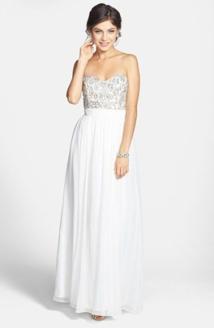 Sean Collection Beaded Bodice Silk Georgette Gown