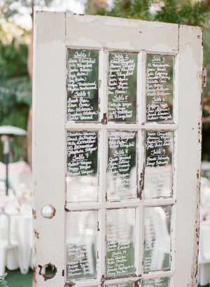 Seating Chart on Vintage Door