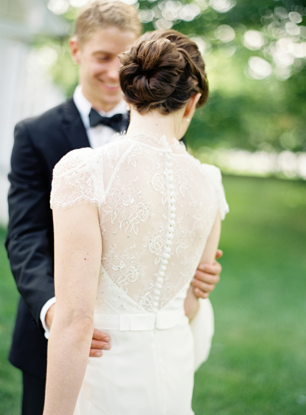 Sheer Lace Back Wedding Gown with Buttons