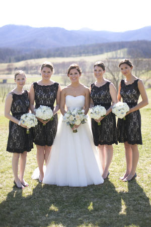 Short Black Watters Lace Bridesmaids Dresses