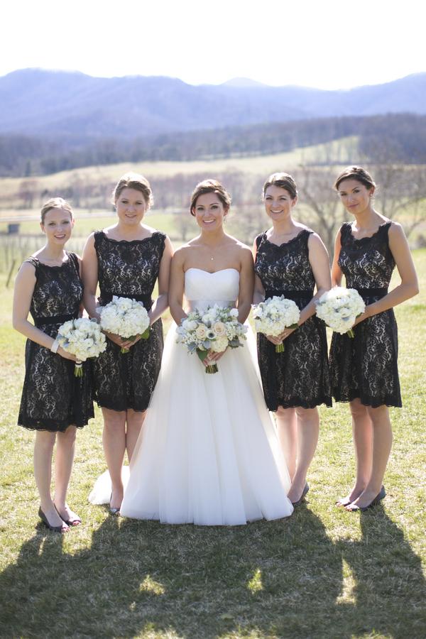 Short Black Watters Lace Bridesmaids Dresses 600 900
