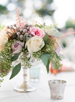 Silver and Green Centerpiece
