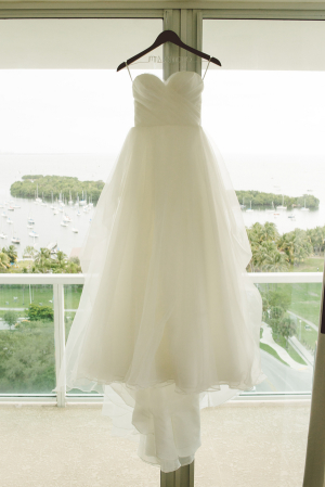 Strapless Gown With Tulle Skirt