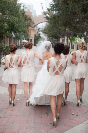 Unique Back on Cream Bridesmaids Dresses