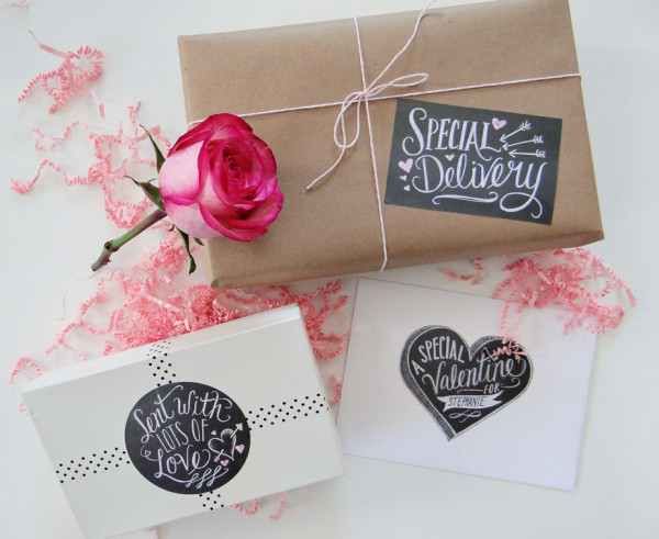 Chalkboard Valentine Printable Labels