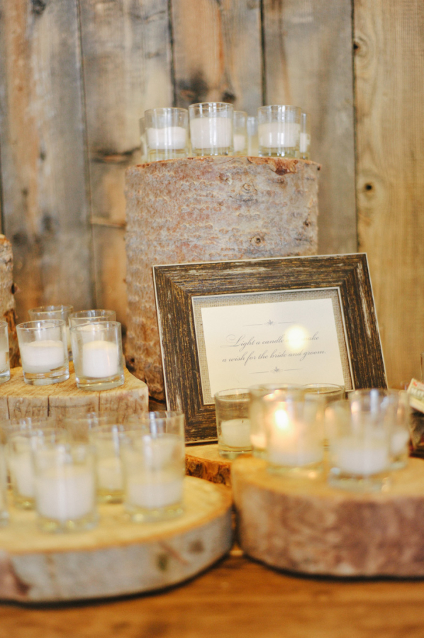 Votive Candles on Tree Trunks