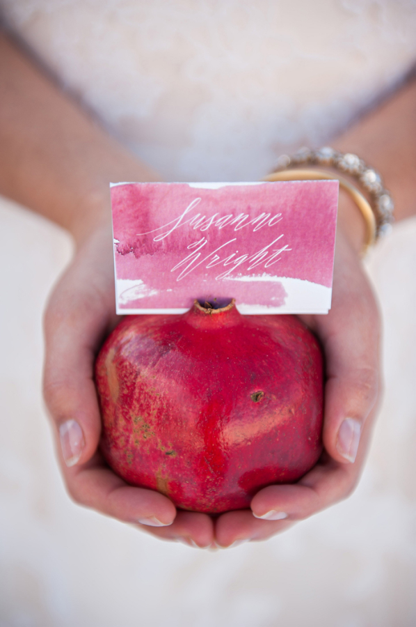 Watercolor Place Card in Pomegranate