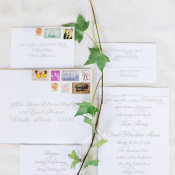 Wedding Invitations with Vintage Stamps