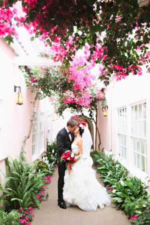 Wedding Photo Under Bougainvillea