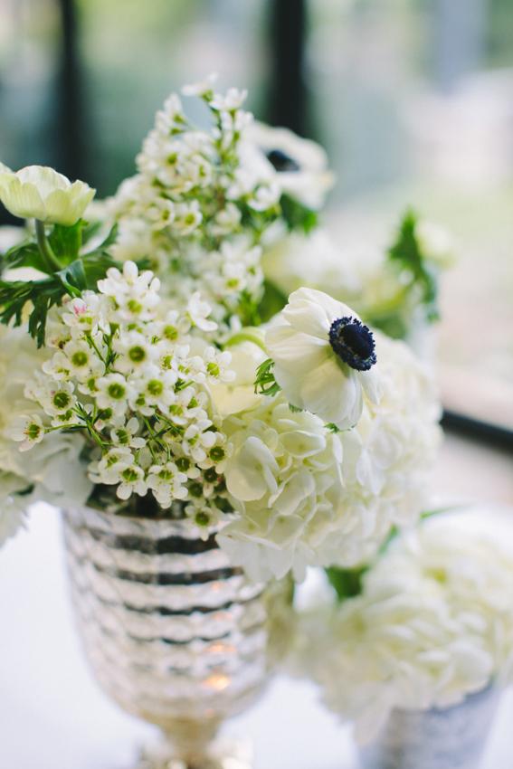 White Flowers in Mercury Glass
