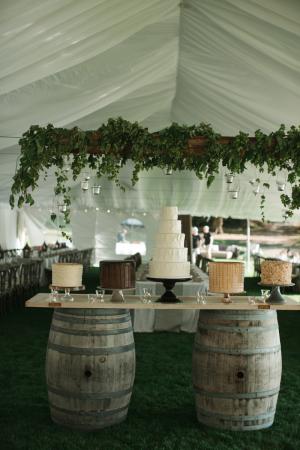 Wine Barrel Wedding Cake Table