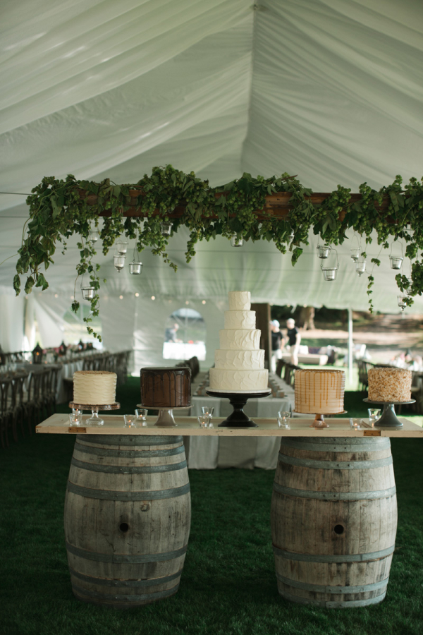 Wine Barrel Wedding Cake Table