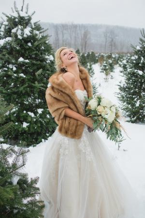 Winter Bride in Oleg Cassini Gown