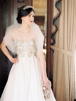 Winter Bride in Ulla Maija Couture Gown with Beaded Bodice