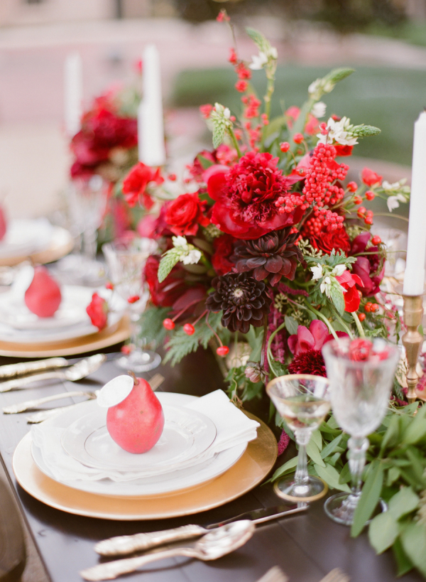 Winter Floral and Pomegranate Table Decor