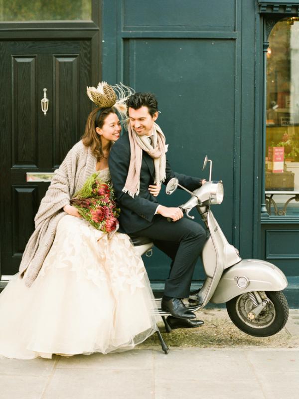 Bride and Groom on Vespa