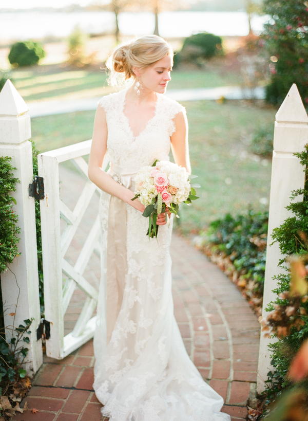 Bride in Lace Gown with Sash