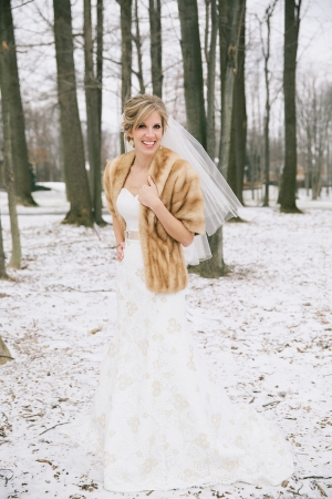 Bride in Winter Wrap