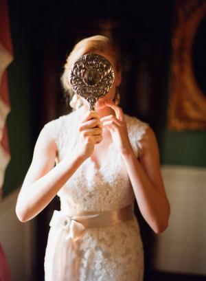 Bride with Vintage Mirror