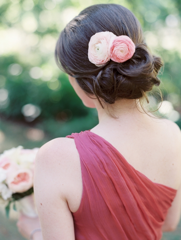 Bridesmaid with Pink Hair Flower