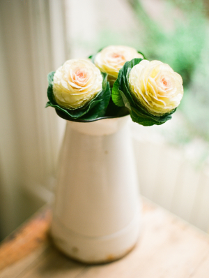 Cabbage Roses in White Pitcher