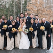 Champagne and Navy Bridal Party