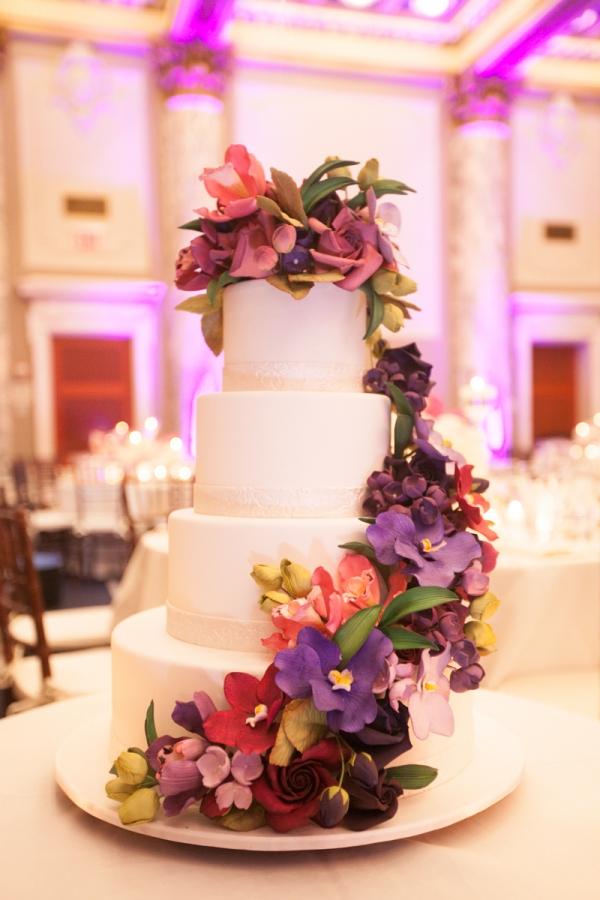 Colorful Purple Flower Wedding Cake