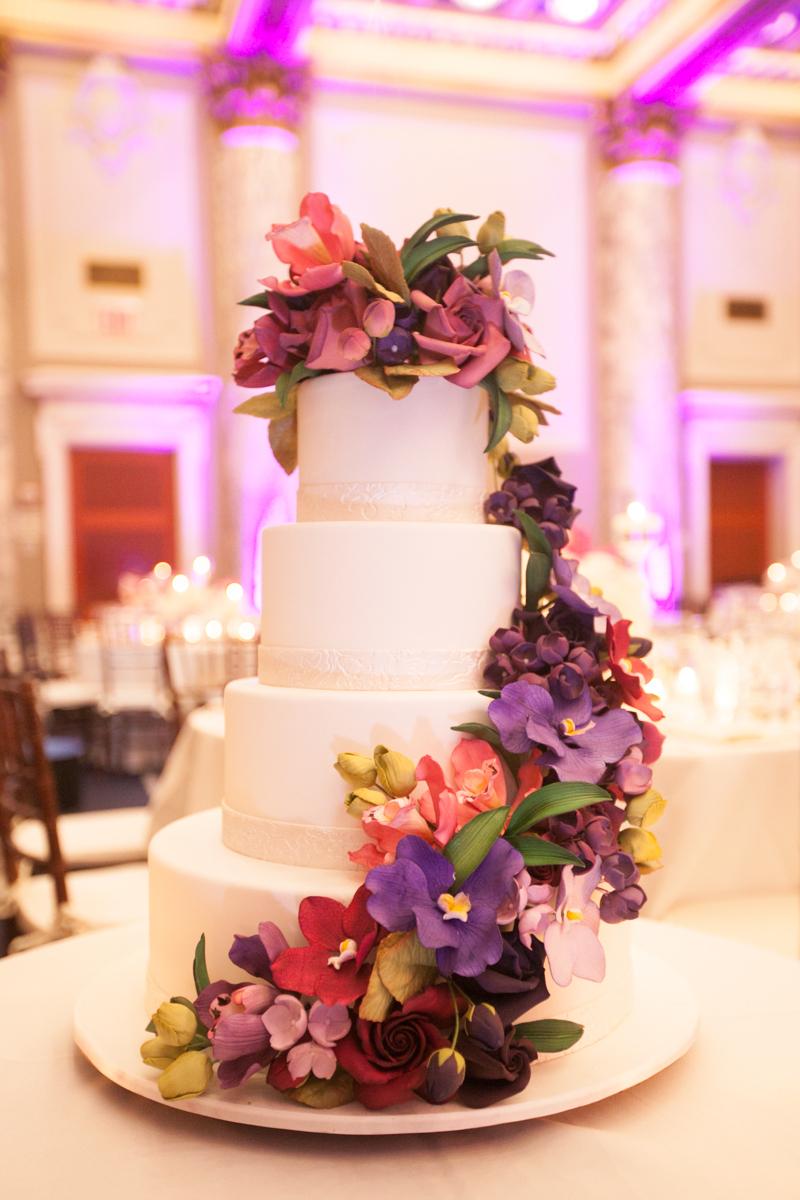 Colorful Purple Flower Wedding Cake - Elizabeth Anne ...