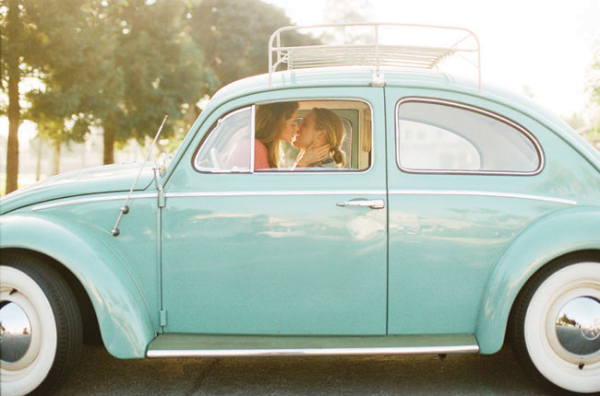 Couple Kissing in Mint Car | This Modern Romance
