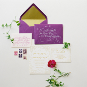 Elegant Purple Gold Wedding Invitations