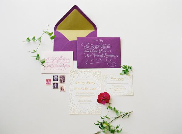 Elegant Purple Gold Wedding Invitations