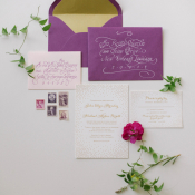 Elegant Purple Gold Wedding Stationery